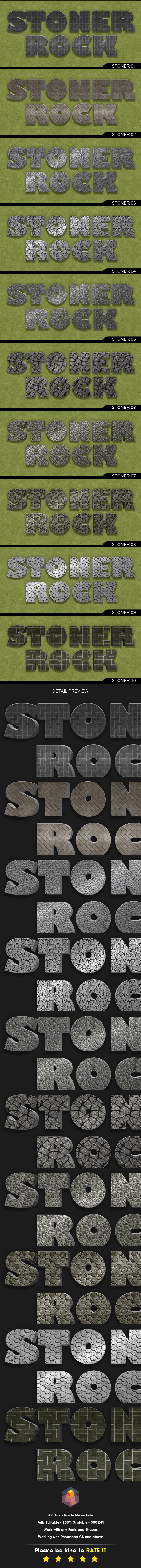 3D Layer Style Stone Effect for Photoshop - Text Effects Styles