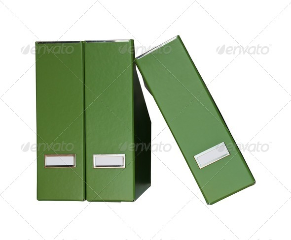 Green magazine files - Stock Photo - Images