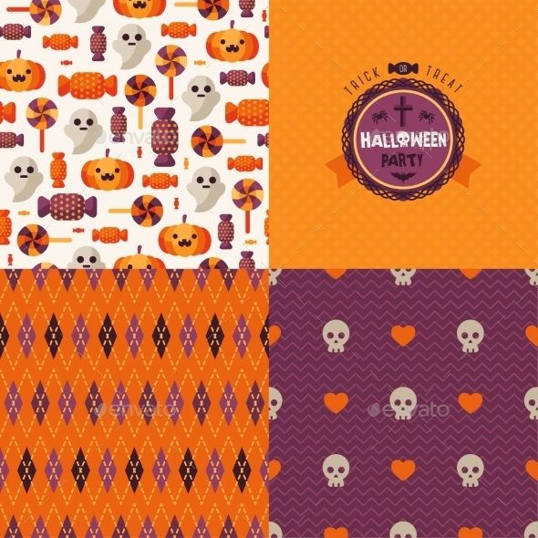 Seamless Patterns Set With Halloween Symbols And - Decorative Symbols Decorative