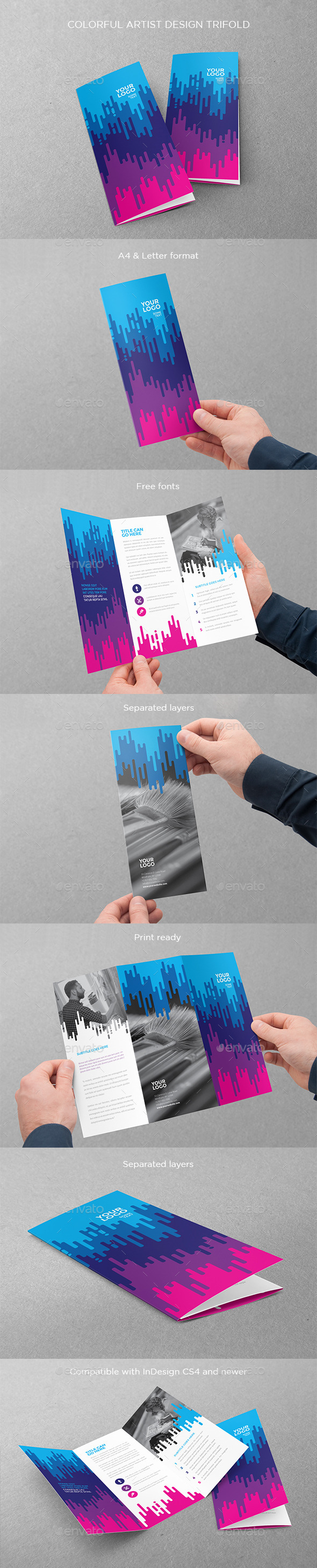 Colorful Artist Design Trifold - Brochures Print Templates