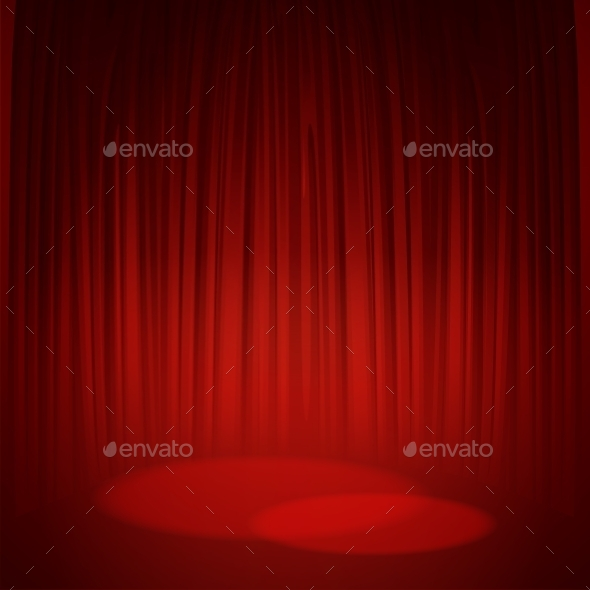 Theater Stage With Red Curtain. Vector - Backgrounds Decorative