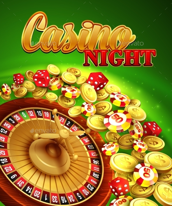 Casino Night. Vector Illustration With Roulette - Web Elements Vectors