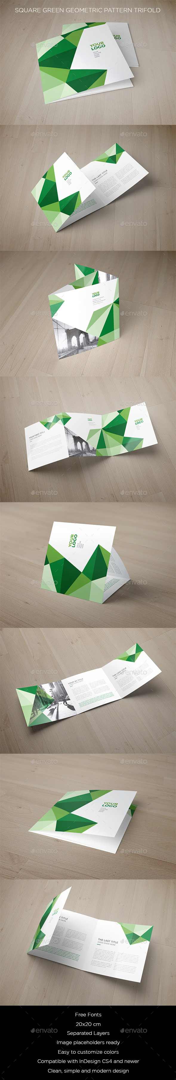 Square Green Geometric Pattern Trifold - Brochures Print Templates