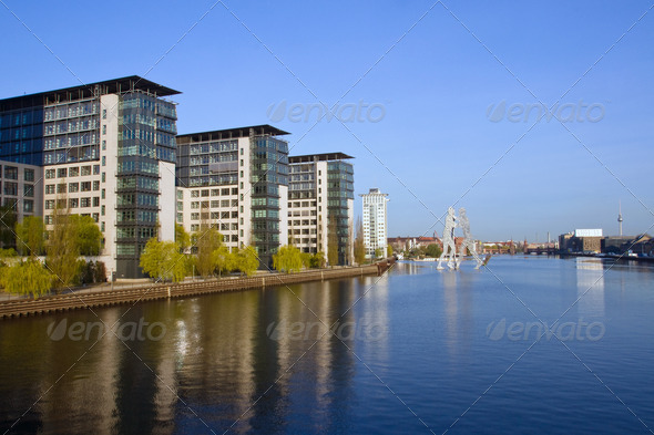 River Spree and the Treptowers - Stock Photo - Images