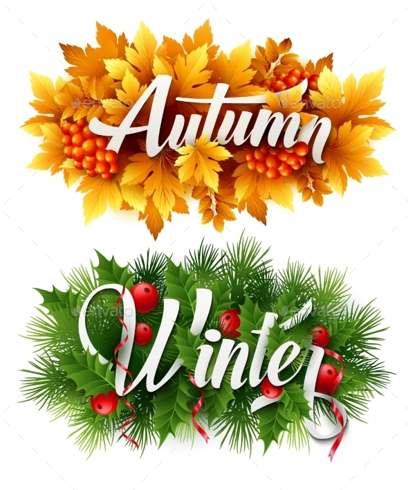 Auyumn And Winter Typographic Banner. Vector - Seasons Nature