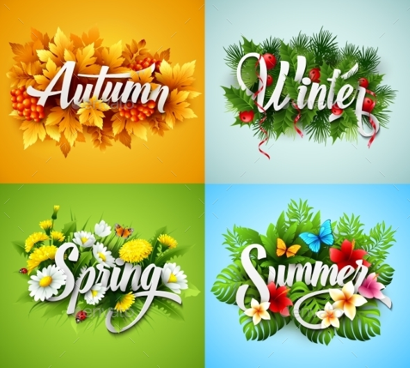 Four Seasons  Typographic Banner. Vector - Seasons Nature