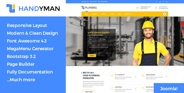 Handyman Construction, Building, Plumbing Template