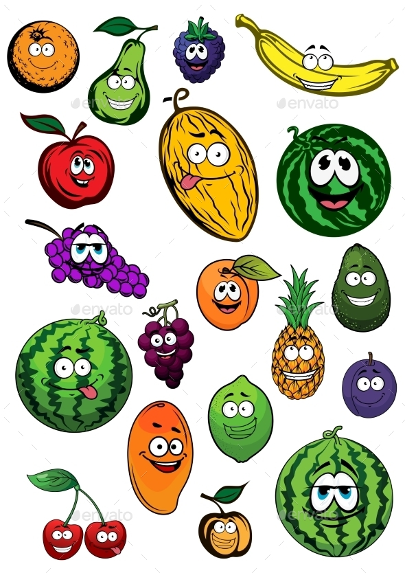 Tropical And Garden Fruits Characters - Food Objects