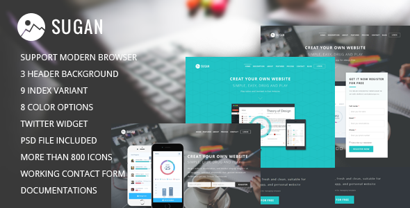 Sugan modern software landing page