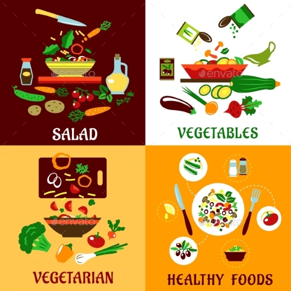 Healthy Salad, Vegetables And Vegetarian Food - Food Objects
