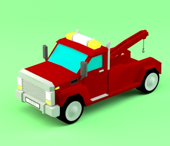 Low poly Pickup Evacuator - 3DOcean Item for Sale