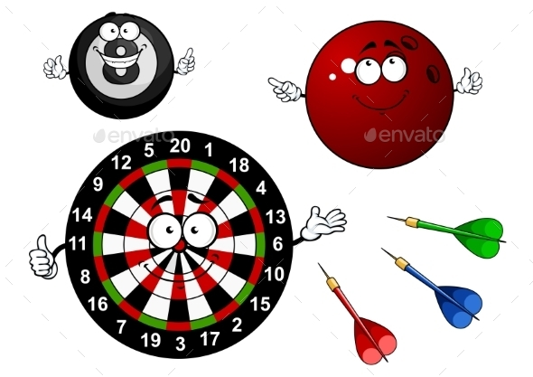 Dartboard, Bowling And Billiard Sport Items - Sports/Activity Conceptual