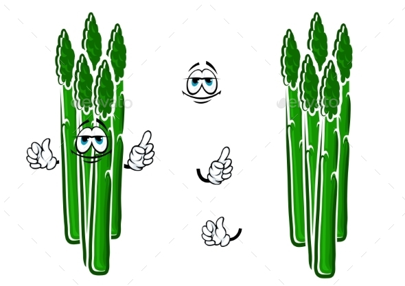 Asparagus Vegetable Spears Cartoon Character - Food Objects
