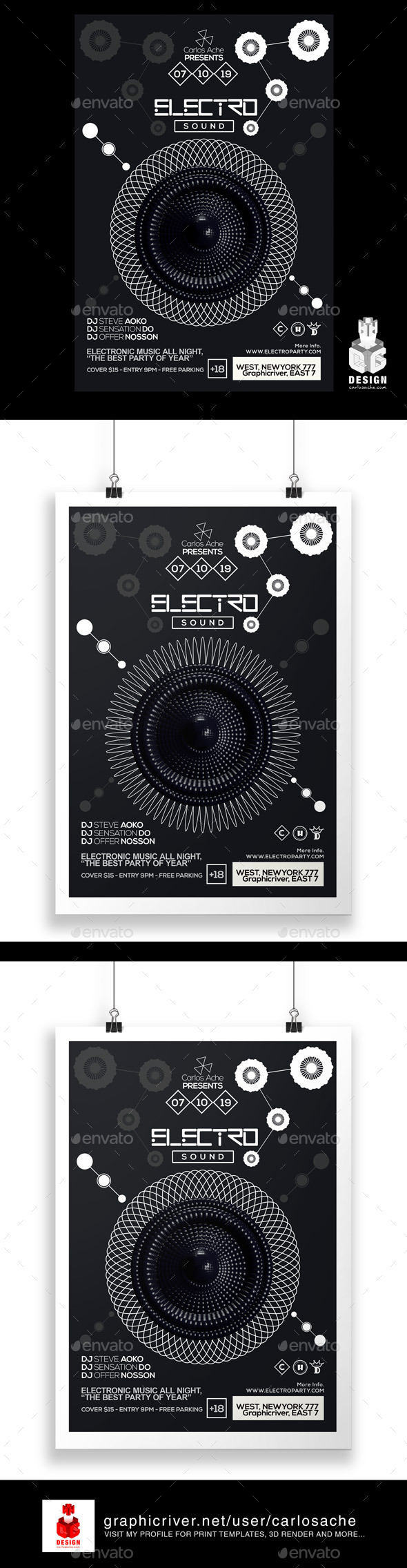 Electro Sound Flyer - Poster Template - Clubs & Parties Events