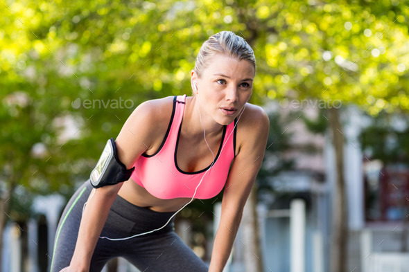A beautiful athlete resting on a sunny day - Stock Photo - Images