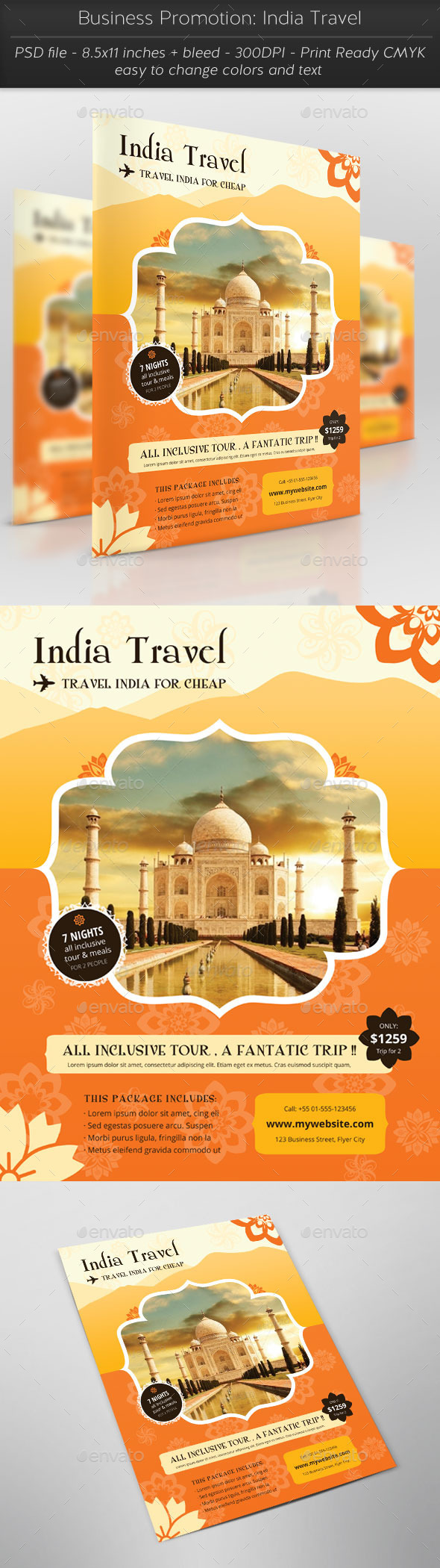 Business Promotion: India Travel - Flyers Print Templates
