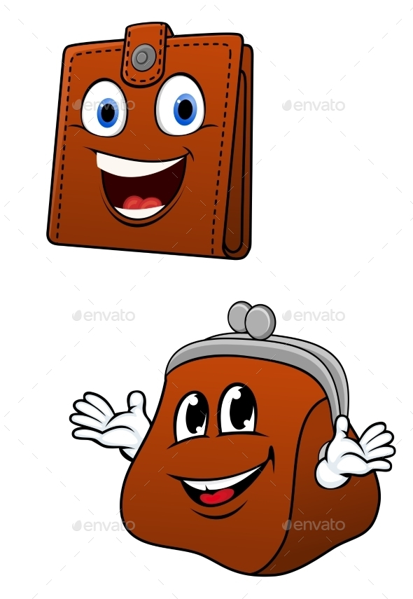 Brown Leather Wallet And Purse Characters - Characters Vectors