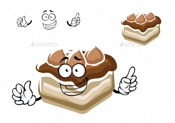 Cartoon Slice Of Chocolate Cake - Food Objects