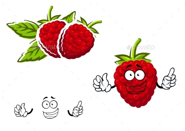 Cartoon Red Raspberry Fruit Character - Food Objects