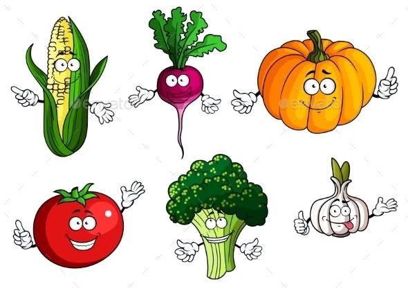 Tomato, Pumpkin, Broccoli, Corn, Radish And Garlic - Food Objects
