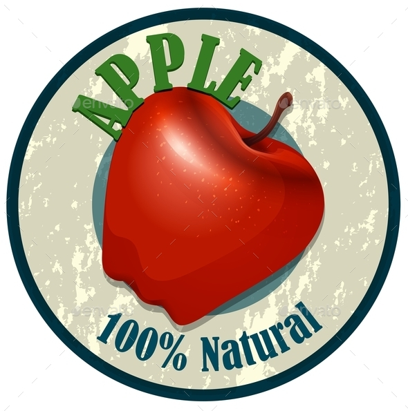 Apple Food Label on White - Food Objects