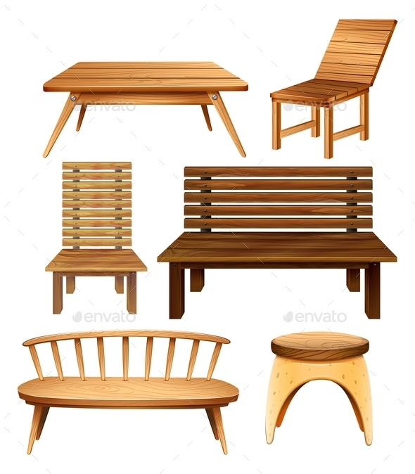 Wooden Furniture - Objects Vectors