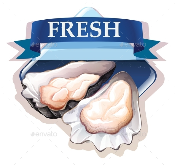Fresh Oysters With Text - Food Objects