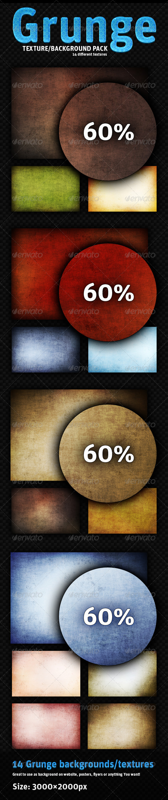 Grunge pack - 14 different backgrounds - Industrial / Grunge Textures