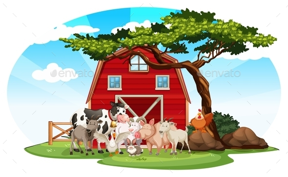 Farm Scene with Animals - Animals Characters