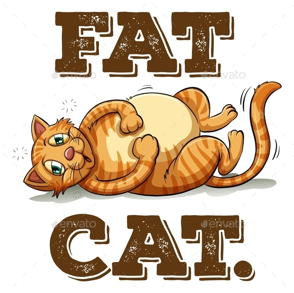 Fat Cat with Text - Animals Characters