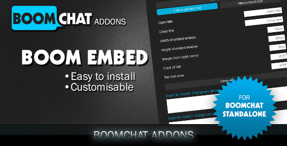 Boom embed for Boomchat PHP/AJAX chat - CodeCanyon Item for Sale