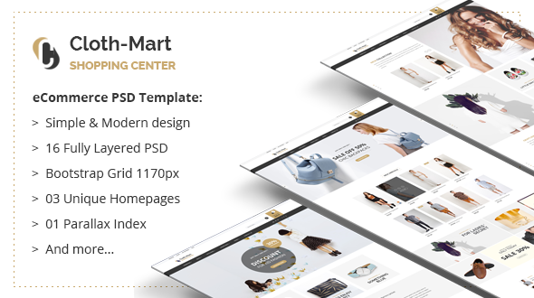 Cloth-Mart Shopping Center PSD Template