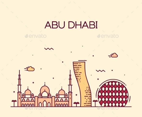 Abu Dhabi City Skyline Trendy Vector Line Art - Buildings Objects