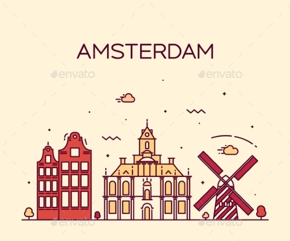 Amsterdam City Skyline Trendy Vector Line Art - Travel Conceptual