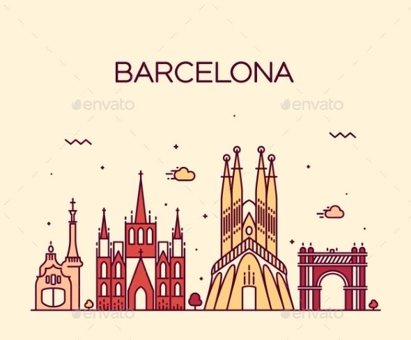 Barcelona City Skyline Trendy Vector Line Art - Landscapes Nature
