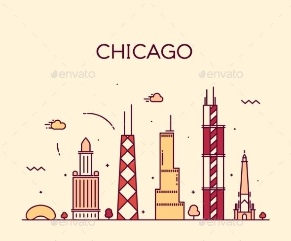 Chicago City Skyline Trendy Vector Line Art - Buildings Objects