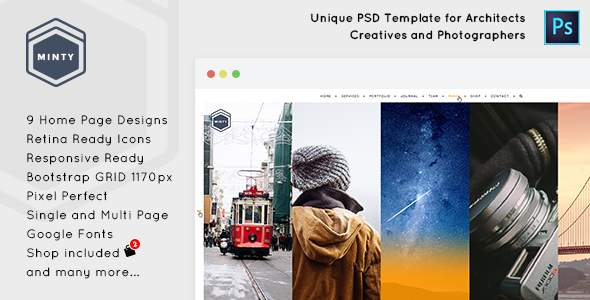 Minty – Agency and Architect PSD Template