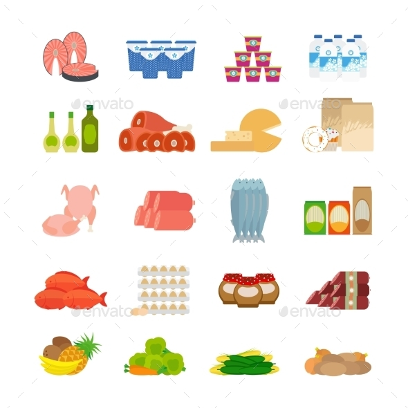 Supermarket Food Flat Icons - Food Objects