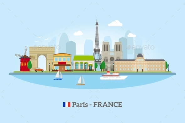 Paris Skyline In Flat Style - Travel Conceptual