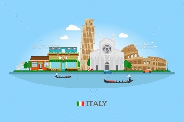 Vector Italy Skyline - Travel Conceptual