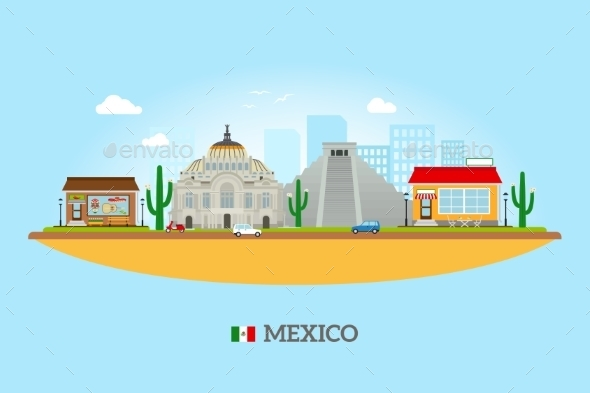 Mexico Landmarks Skyline - Travel Conceptual
