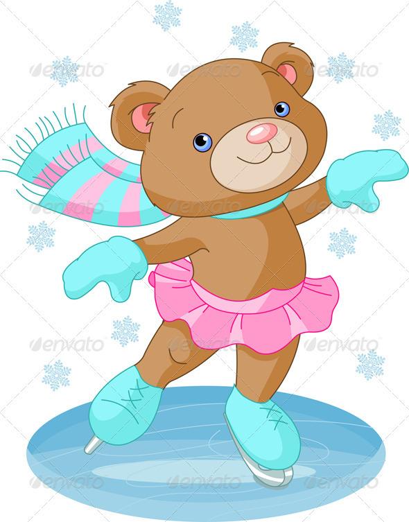 Cute bear girl on ice skates - Sports/Activity Conceptual