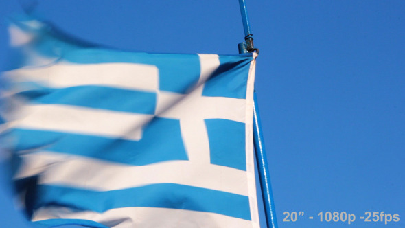 Greek Flag with Ripped Edges