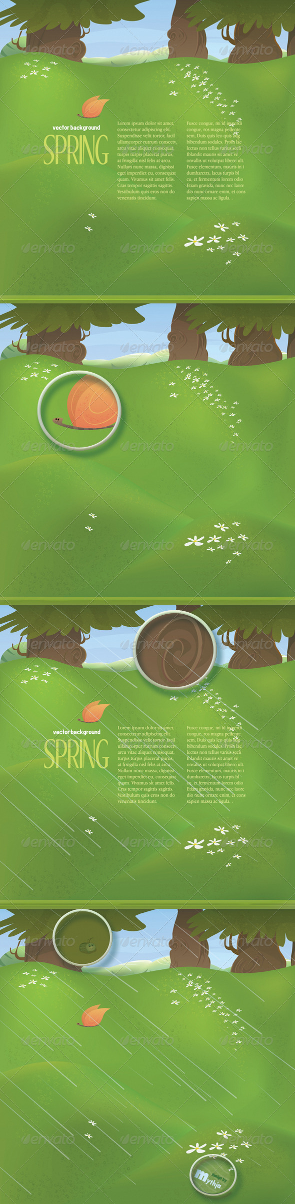 Vector spring landscape with meadow and trees - Nature Conceptual