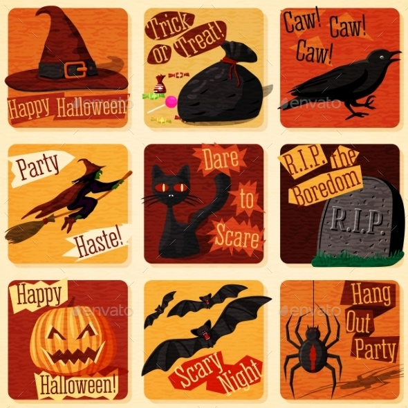 Collection Of Cute Retro Stylized Halloween - Halloween Seasons/Holidays
