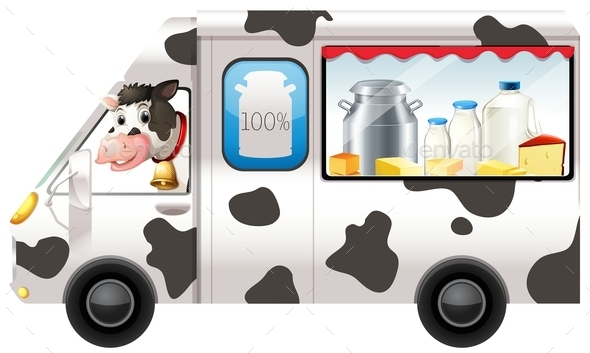 Dairy Cow in a Truck - Animals Characters