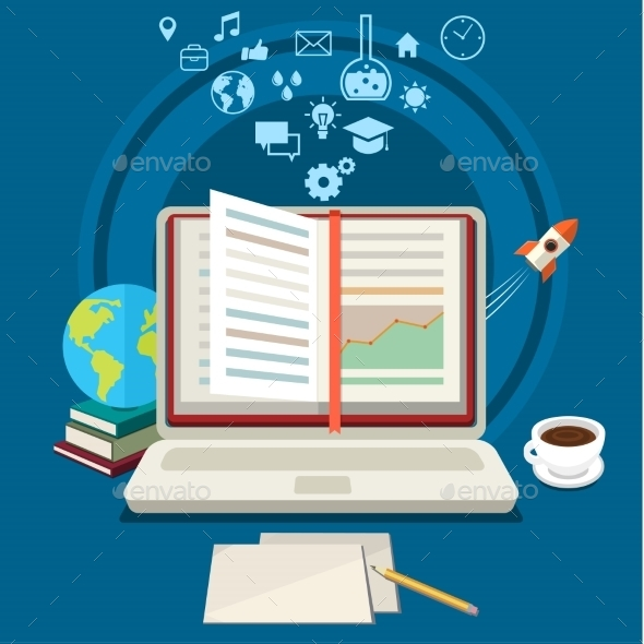 Concept Of Online Education. - Technology Conceptual