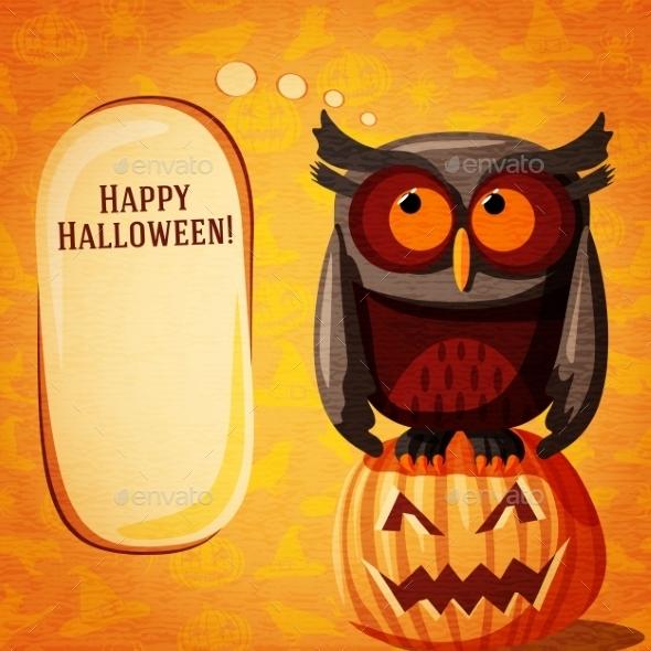 Halloween Cute Banner On The Craft Paper Texture - Halloween Seasons/Holidays