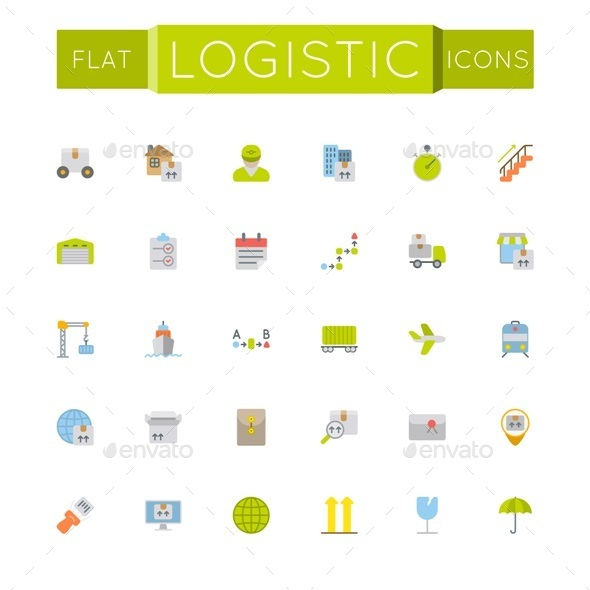 Vector Flat Logistic Icons - Business Icons