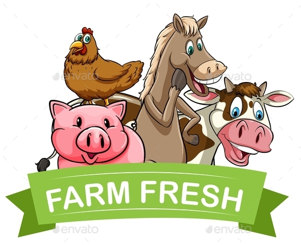 Farm Fresh Food Label - Animals Characters